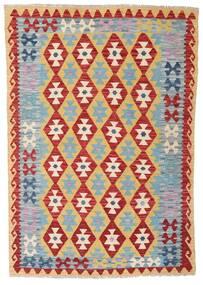 Kilim Afgán Old Style Szőnyeg 124X179 Keleti Kézi Szövésű Sötétpiros/Világosszürke/Sötét Bézs (Gyapjú, Afganisztán)