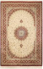 Ghom Selyem Szőnyeg 132X201 Keleti Csomózású Bézs/Világosbarna (Selyem, Perzsia/Irán)