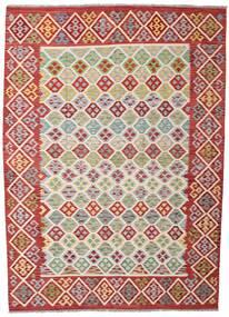 Kilim Afgán Old Style Szőnyeg 203X284 Keleti Kézi Szövésű Sötétpiros/Rozsdaszín (Gyapjú, Afganisztán)