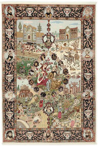 Tabriz 50 Raj Szőnyeg 150X219 Keleti Csomózású Barna/Világosbarna (Gyapjú/Selyem, Perzsia/Irán)