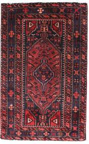 Hamadán Szőnyeg 90X140 Keleti Csomózású Fekete/Sötétpiros (Gyapjú, Perzsia/Irán)