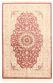 Ghom Selyem Szőnyeg 132X201 Keleti Csomózású Bézs/Világos Rózsaszín (Selyem, Perzsia/Irán)