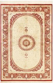 Ghom Selyem Szőnyeg 134X197 Keleti Csomózású Bézs/Piros (Selyem, Perzsia/Irán)