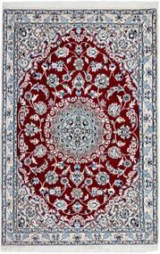 Nain 9La Szőnyeg 94X143 Keleti Csomózású Világosszürke/Sötétpiros (Gyapjú/Selyem, Perzsia/Irán)
