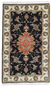 Tabriz 60 Raj Selyemfonal Szőnyeg 73X120 Keleti Csomózású Fekete/Sötét Bézs (Gyapjú/Selyem, Perzsia/Irán)