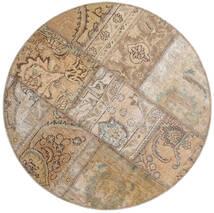 Patchwork - Persien/Iran Szőnyeg Ø 100 Modern Csomózású Kerek Világosszürke/Világosbarna (Gyapjú, Perzsia/Irán)
