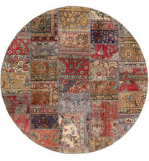 Patchwork - Persien/Iran Szőnyeg Ø 200 Modern Csomózású Kerek Sötétpiros/Világosbarna (Gyapjú, Perzsia/Irán)