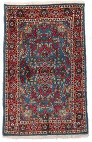 Kerman Szőnyeg 94X151 Keleti Csomózású Sötétpiros/Sötétszürke (Gyapjú, Perzsia/Irán)