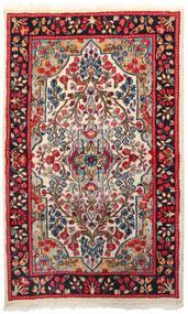Kerman Szőnyeg 92X151 Keleti Csomózású Sötétpiros/Bézs (Gyapjú, Perzsia/Irán)