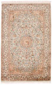 Kashmir Tiszta Selyem Szőnyeg 98X152 Keleti Csomózású Bézs/Sötétbarna (Selyem, India)
