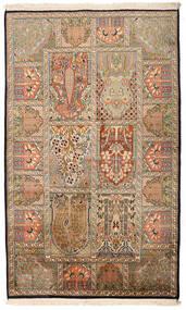 Kashmir Tiszta Selyem Szőnyeg 94X157 Keleti Csomózású Világosbarna/Bézs (Selyem, India)
