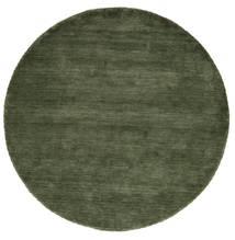 Handloom - Erdőzöld Szőnyeg Ø 200 Modern Kerek Sötétzöld (Gyapjú, India)