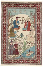 Sarough Szőnyeg 143X213 Keleti Csomózású Bézs/Sötétbarna (Gyapjú/Selyem, Perzsia/Irán)