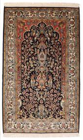 Kashmir Tiszta Selyem Szőnyeg 82X132 Keleti Csomózású Fekete/Sötétbarna (Selyem, India)