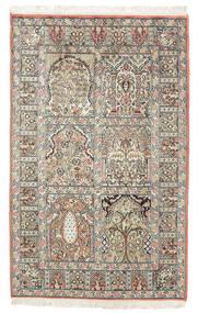 Kashmir Tiszta Selyem Szőnyeg 77X127 Keleti Csomózású Sötétbarna/Bézs (Selyem, India)