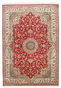 Kashmir Tiszta Selyem Szőnyeg 152X219 Keleti Csomózású Sötétpiros/Sötétbarna (Selyem, India)