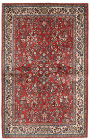 Sarough Szőnyeg 132X206 Keleti Csomózású Sötétpiros/Bézs (Gyapjú, Perzsia/Irán)