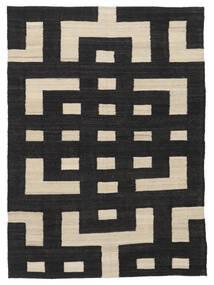 Kilim Modern Szőnyeg 132X177 Modern Kézi Szövésű Fekete/Világosbarna (Gyapjú, Afganisztán)