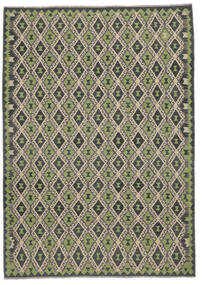 Kilim Afgán Old Style Szőnyeg 207X296 Keleti Kézi Szövésű Fekete/Sötétzöld (Gyapjú, Afganisztán)